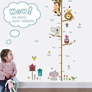 Wland 22 inches x 43 inches Monkey Lion Elephant Birds Koala Animals Measurement Growth Chart Removable Vinyl Wall Decals Stickers for Children Room Nursery