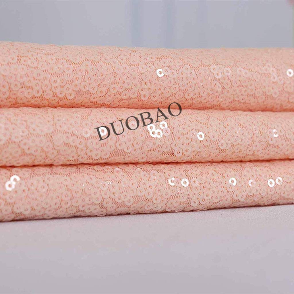 DUOBAO Peach Sequin Fabric for Sewing Glitter Backdrop Peach 10 Yards Sequin Material Fabric 2 Way Stretch Sequin Fabric by The Yard