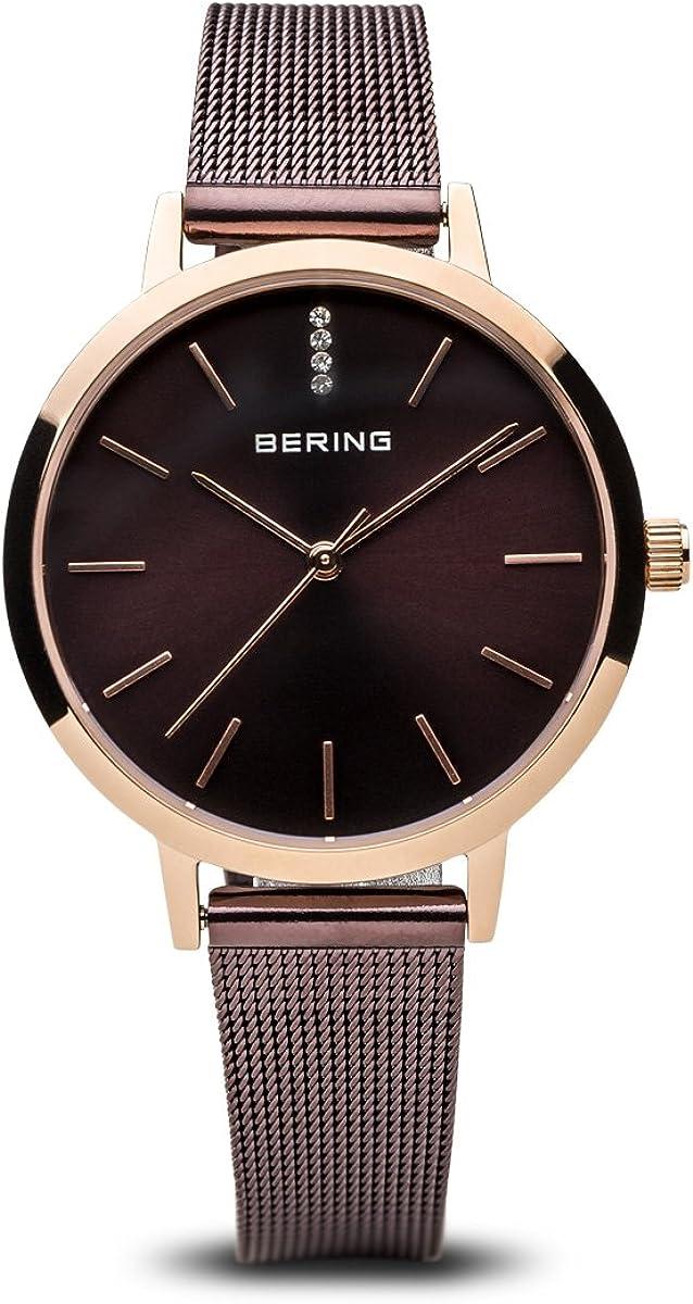 Bering tiempo 13434–265Mujer Classic de reloj con correa de acero inoxidable y cristal de zafiro resistente al cristal. Diseñado en Dinamarca