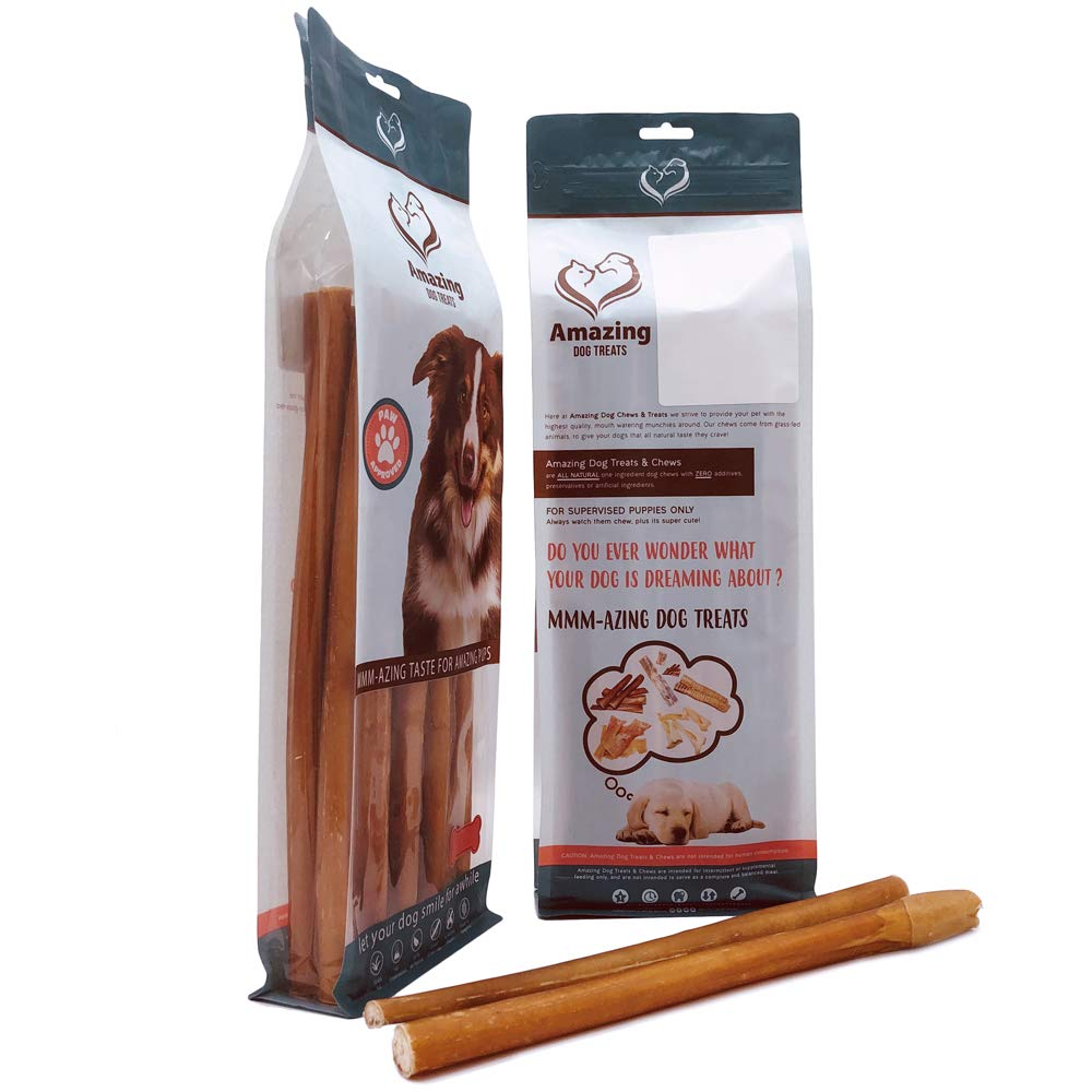 Amazing Dog Treats 12 Inch Thick Jumbo Straight Bully Sticks- Premium Dog Chews – All Natural Rawhide Alternative – Long Lasting Dog Treat – 100 Beef Bully Bones – Great Canine Dental Chew