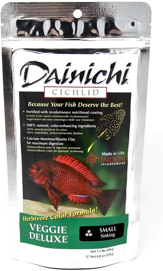 Dainichi Veggie Deluxe Sinking Cichlid Food, Small (3 mm), 8.8 Oz
