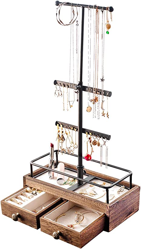 KUIENSI Jewelry Stand Organizer, 3 Tier Jewelry Tree Stand, Necklace Organizer Display Bracelet with Adjustable Height, for Necklaces Bracelet Earrings and Ring (Carbonized Black)