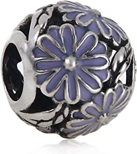 Purple Daisy Charm Authentic 925 Sterling Silver Flower Beads Charm for DIY Charms Bracelets