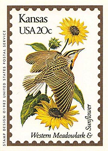 Kansas State Bird & Flower trading card (Western Meadowlark & Sunflower) 1991 Bon Air #16