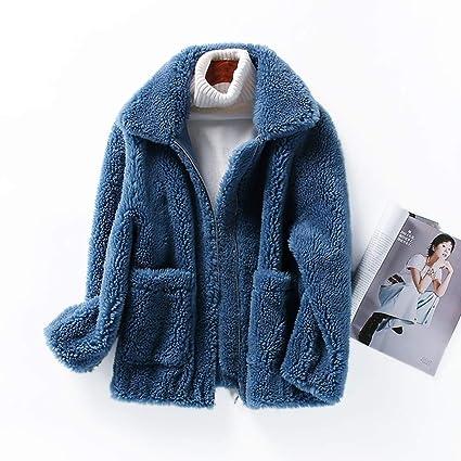 Abrigo corto de las señoras de invierno Suelto Piel de gran tamaño esquilada Abrigo de piel