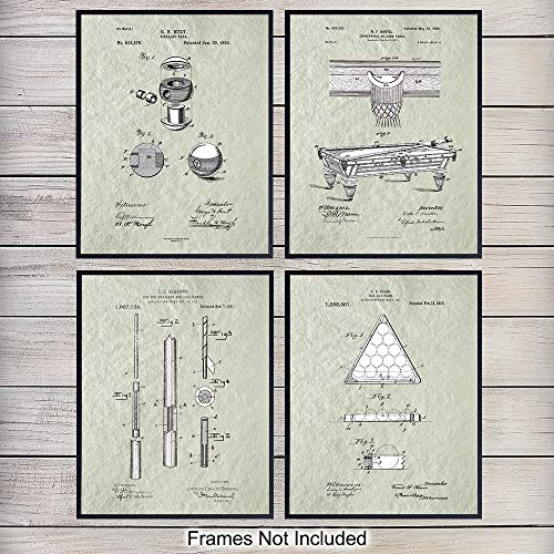 (Billiards Patent Art Prints - Vintage Retro Wall Art Poster Set - Chic Modern Home Decor for Game Room, Man Cave, Bar, Den, Office - Great Gift for Men, Pool Players - 8x10 Photo - Unframed )