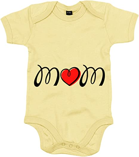 Body bebé Mom Love amor de madre - Amarillo, 6-12 meses: Amazon.es: Bebé