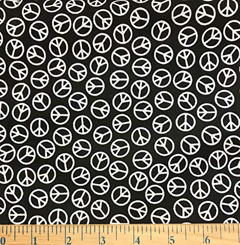 1/2 Yard - White Peace Signs Tossed on