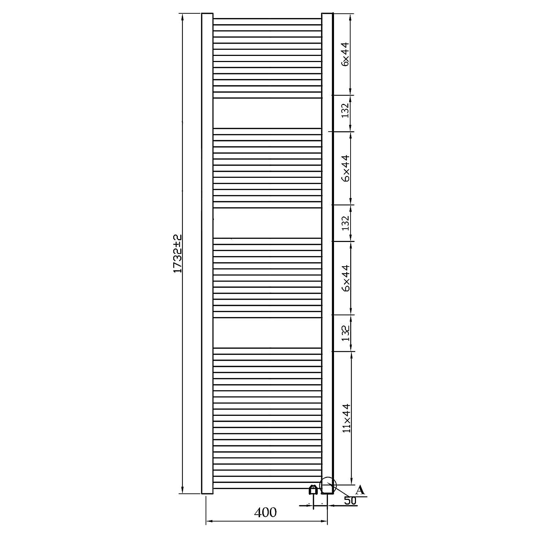 Heizk/örper mit versetztem Mittelanschluss Badheizk/örper Handtuchheizk/örper mit Anschluss links oder rechts 1732 x 400, Wei/ß