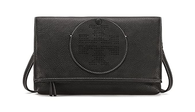 87424bc953c9 Image Unavailable. Image not available for. Color  Tory Burch Perforated  Logo Fold Over Crossbody in Black
