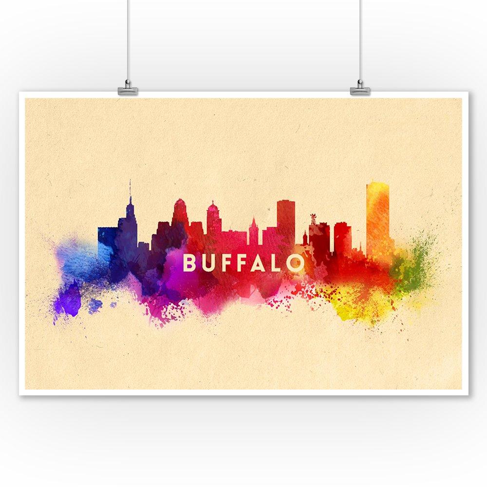 Amazon.com: Buffalo, New York - Skyline Abstract (9x12 Collectible ...
