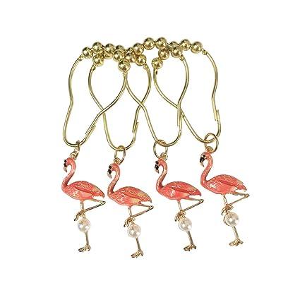 Etonnant Amazon.com: ZILucky Set Of 12 Flamingo Shower Curtain Hooks Decorative Home  Bathroom Stainless Steel Rustproof Shower Curtain Rings Decor Accessories  ...