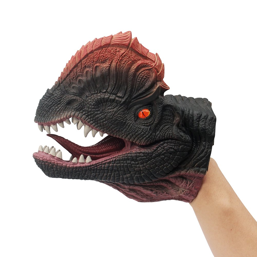 KAJA Soft Rubber Realistic 6 Inch Dinosaur Hand Puppets Role Play Toy for Kids's (Dilophosaurus)