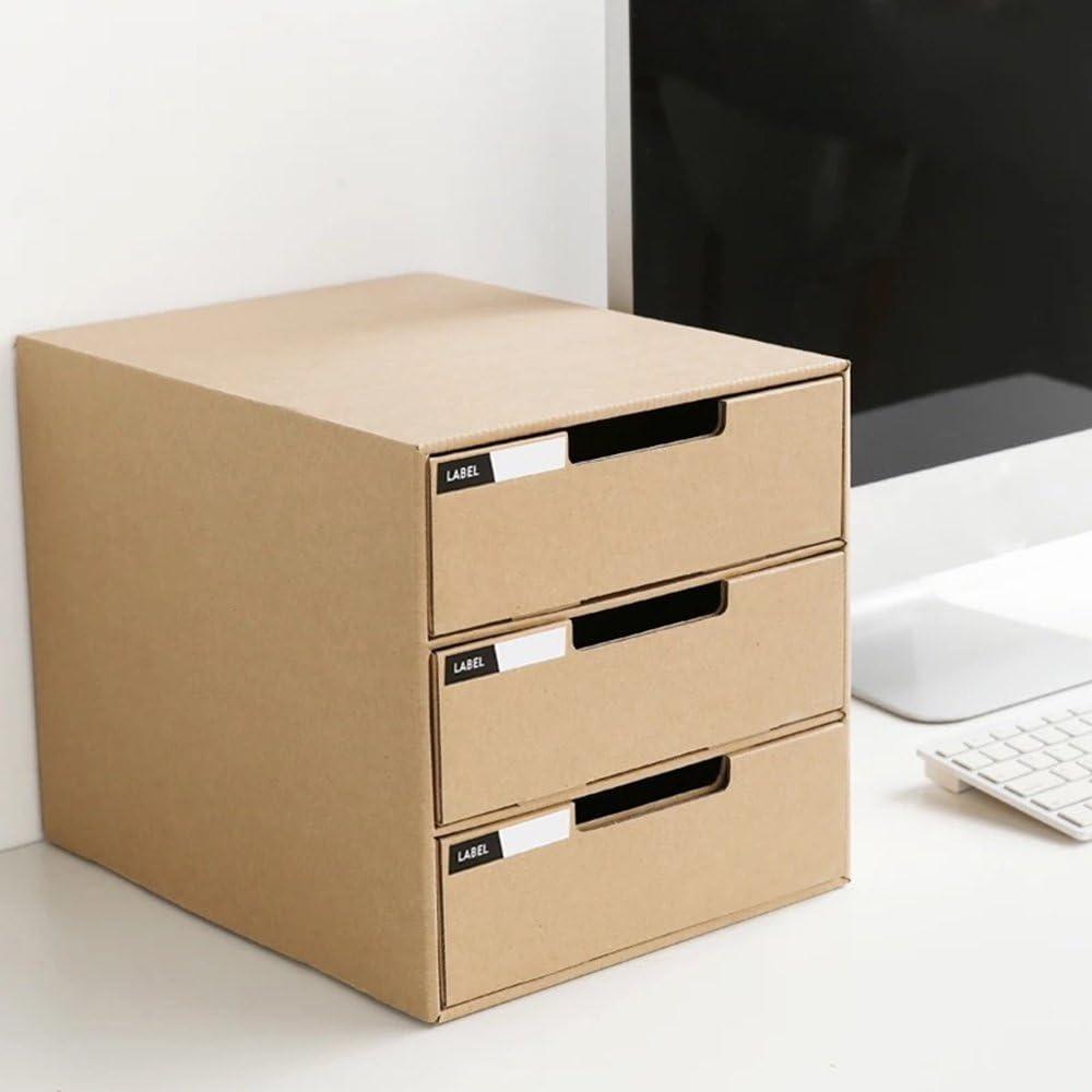 Systembox Pappe B/ürobox Zeitschriftenhalter Dokumente Organizer Aufbewahrungsbox Schreibtisch Speicherorganisator mit 3 Geschlossenen Schubladen FONGFONG Datei Organizer Schubladenbox