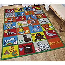 LA Rug Linens Kids Rug ABC Animals Area Rug 8 x 10 Children Area Rug for Playroom & Nursery - Non Skid Gel Backing 8 x 10 (Kids Animal Alphabet)