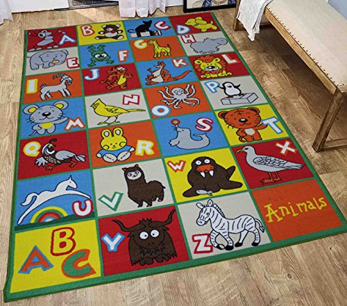 LA Rug Linens Kids Rug ABC Animals Area Rug 8 x 10 Children Area Rug for Playroom & Nursery - Non Skid Gel Backing 8 x 10 (Kids Animal Alphabet)