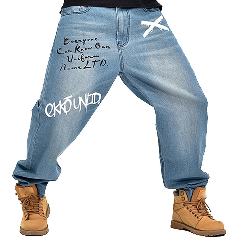 XTX Men's Hip Hop Embroidery Demin Pants Washed Baggy Jeans