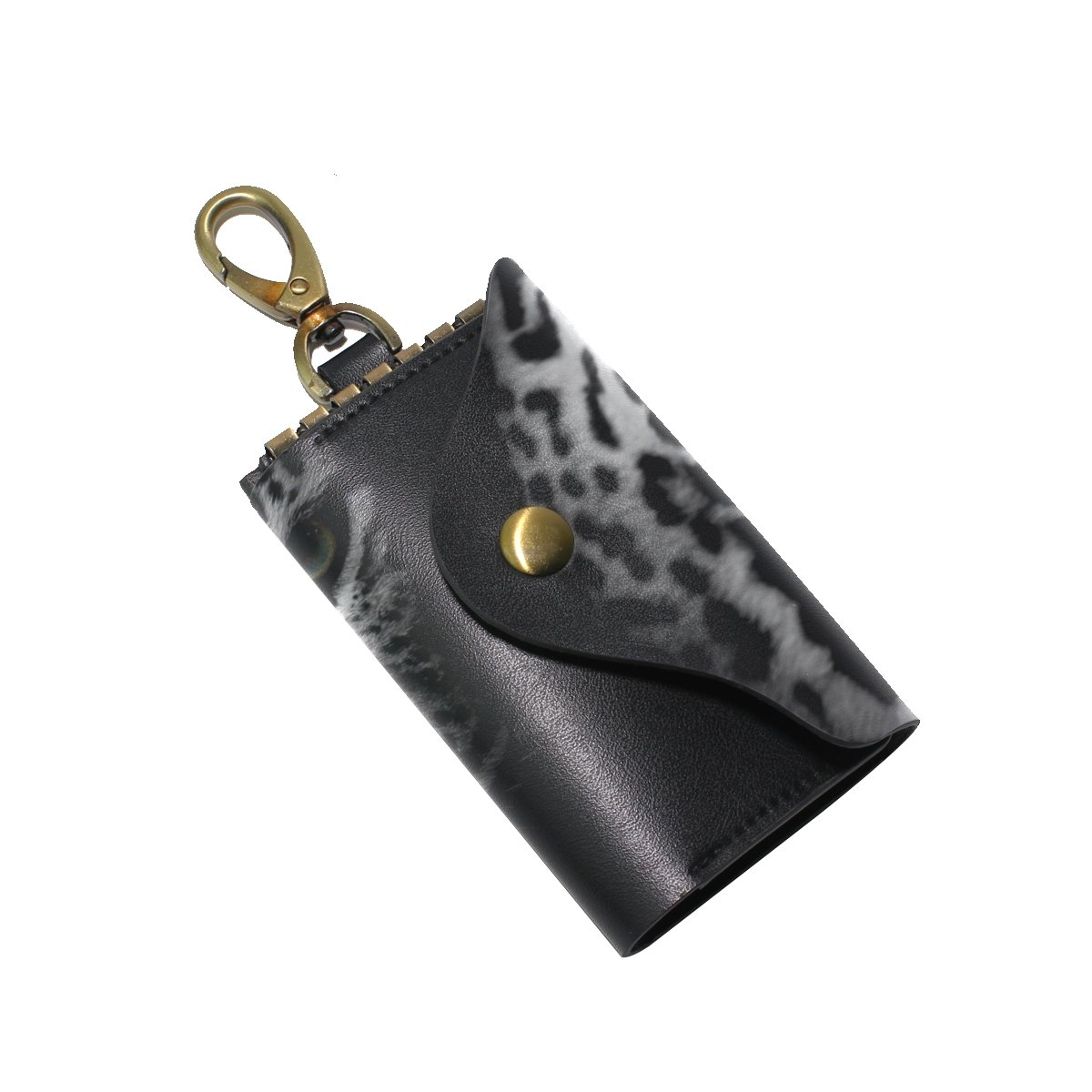 KEAKIA Close Up Leopard Portrait Leather Key Case Wallets Tri-fold Key Holder Keychains with 6 Hooks 2 Slot Snap Closure for Men Women