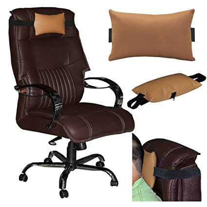 Acm Leather Cushion Pillow Head U0026 Neck Rest For Office Chair Golden