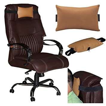 chair neck pillow. acm leather cushion pillow head \u0026 neck rest for office chair golden amazon.in