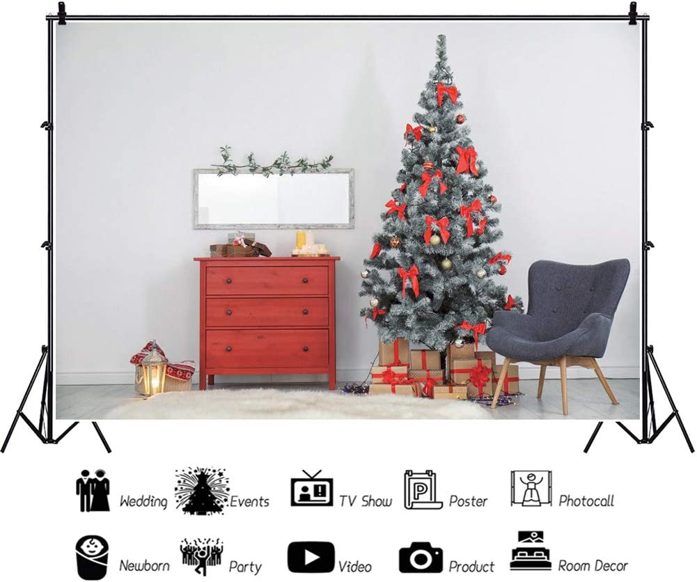 Leowefowa Indoor Xmas Tree with Red Bow Closet Backdrop for Photography 10x8ft Christmas Background Christmas Party Banner Child Baby Photo Shoot Studio Props Wallpaper