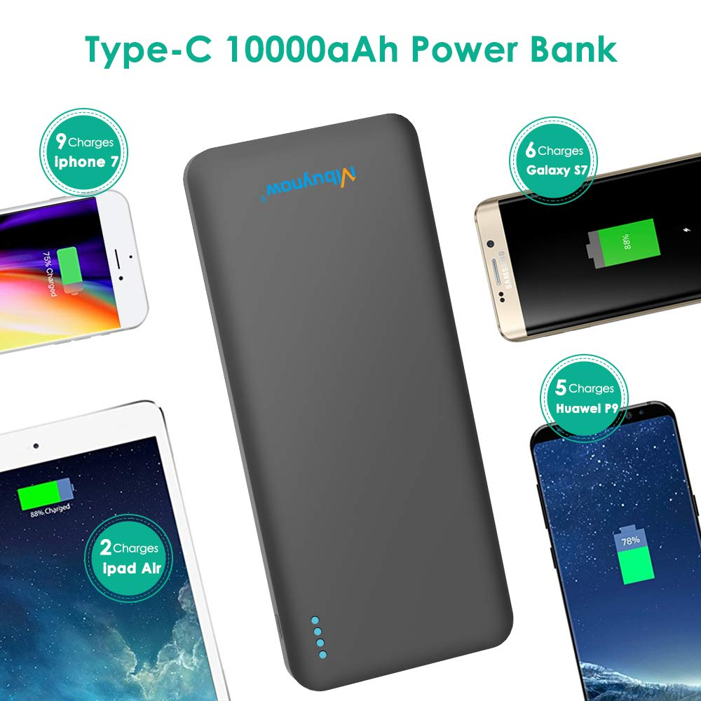 Power Bank, Mbuynow 10000mAh Portable Charger USB C and Quick Charge 3.0 Battery Bank for iPhone, Samsung, iPad, Tablets and More, Black