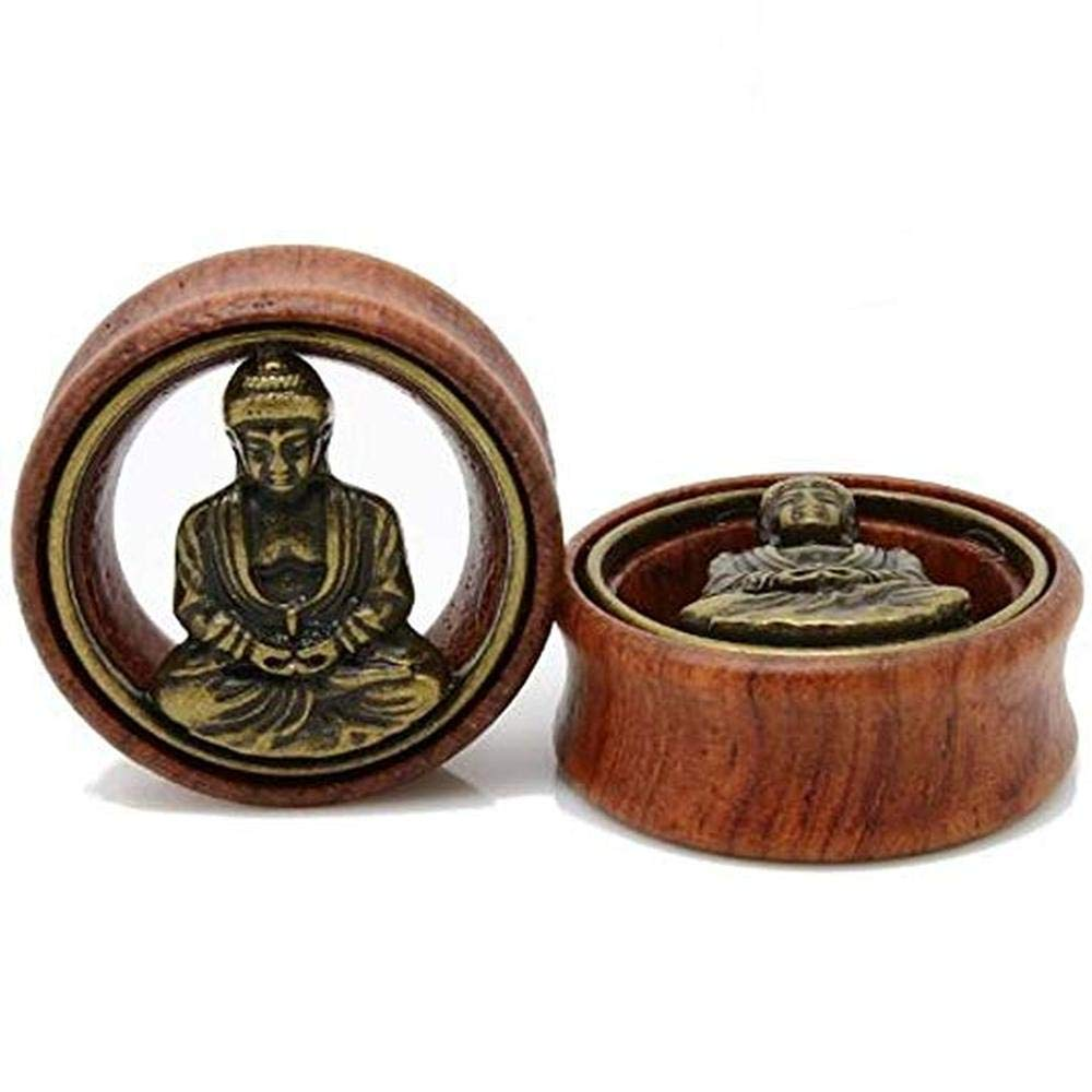 Flesh Tunnel Buddha Double Flared Ear Stretcher Saddle Plugs Gauge 8mm - 20mm (Brown, 12mm) by Acccity (Image #5)