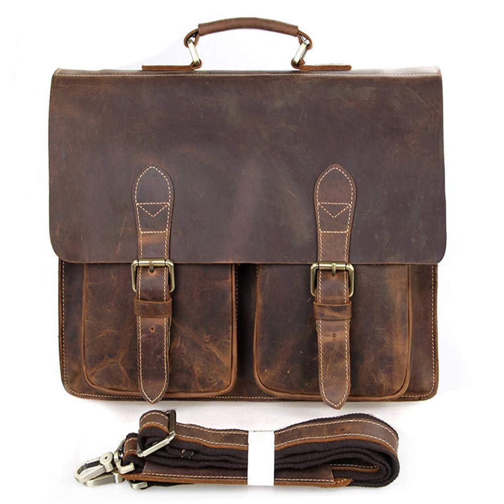 FeliciaJuan Retro Leather Mens Computer Bag 15 Leather Mens Shoulder Bag Simple Atmosphere Thick Leather Briefcase