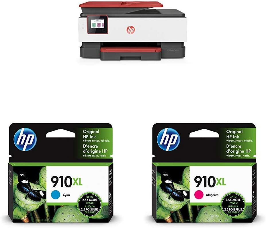 HP OfficeJet Pro 8035 All-in-One Wireless Printer - Coral (4KJ65A) with XL Ink Cartridges - 4 Colors