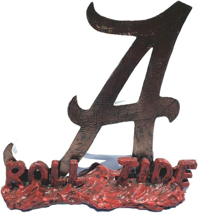 College Bronze Roll Tide Alabama Script A Sculpture Bundle with 2 Alabama Crimson Tide Coin Paperweights
