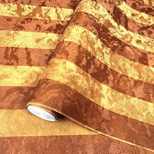 Made in Italy Portofino wallcoverings rolls modern embossed Vinyl Non-Woven Wallpaper gold bronze copper metallic stripes wallpapers striped textured design texture rolls 3D 300065 paste the wall only by Portofino