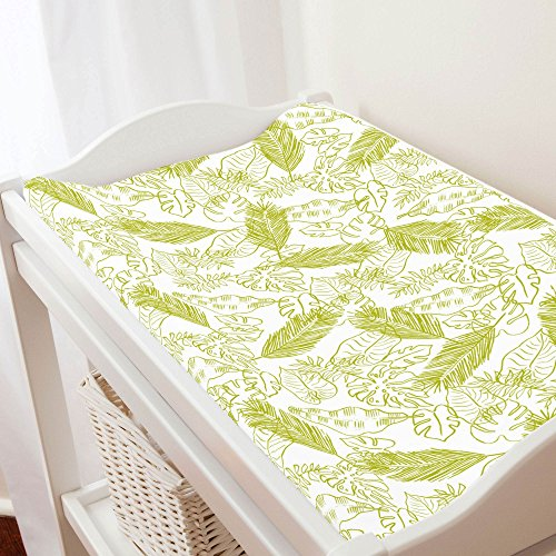 (Carousel Designs Citron Palm Leaves Changing Pad Cover - Organic 100% Cotton Change Pad Cover - Made in The USA)
