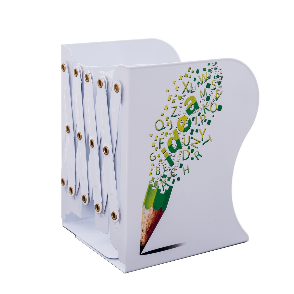 JIARI Funny Pencil Pattern Decorative Bookends Metal Heavy Duty Adjustable Bookend Book Holder Stable Book Stand Office Desk Shelf (style3)