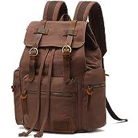AUGUR Canvas Backpack Vintage Leather Large Laptop Rucksack Bookbag Satchel Hiking Bag