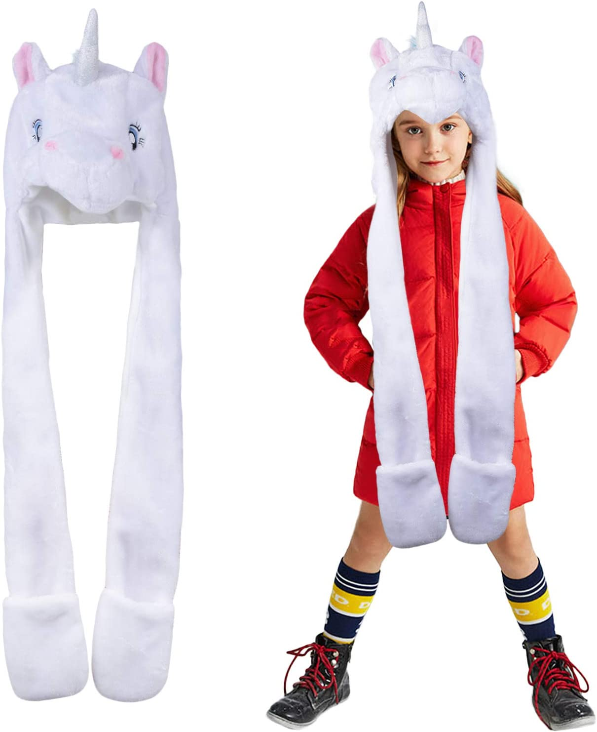 Unisex Cozy Plush Unicorn Hooded Scarf Earflap Cap with Pocket /& Rainbow Mane Teens Beanies Party Hat Maticr