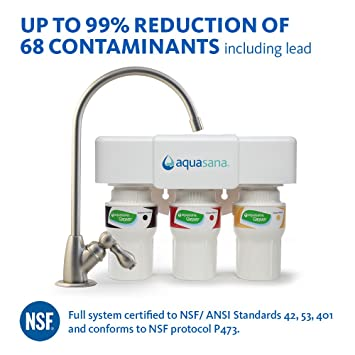 Aquasana 3 Stage Under Sink Water Filter System With Brushed Nickel Faucet