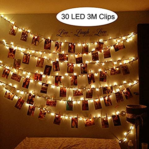 MHtech 30 LED Photo Clips String Lights, 10 Ft LED Clips Lights Warm White Battery Powered Fairy Lights LED for Hanging Photos Pictures Cards Artwork and Memos (10ft Warm - 30 White Clips