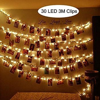 mhtech 30 led photo clips string lights 10 ft led clips lights warm white battery