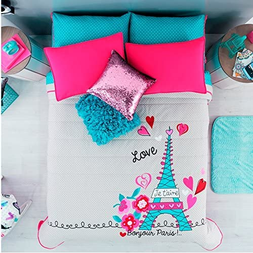 Top JORGE'S HOME FASHION PARIS TEENS GIRLS BEDSPREAD SET,SHEET SET AND WINDOWS PANELS 9 PCS TWIN SIZE