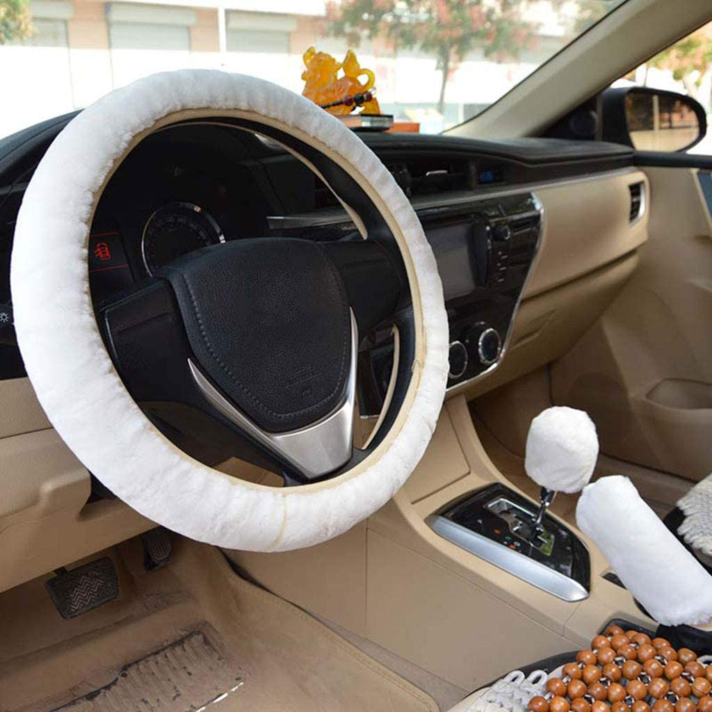 Weilov Universal Plush Car Steering Wheel Cover Pink-1 steering wheel cover + 1 hand brake cover + 1 gear lever cover Soft Winter Warm Supplies Good gift for Family or Friend
