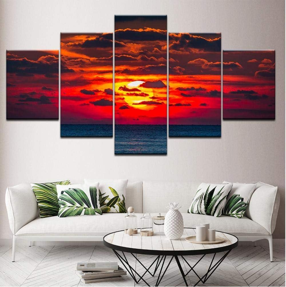 flores Pintura de lienzo de 5 piezas Una puesta de sol más grande con nubes oscuras paisaje Arte de la pared Pintura Fondos de pantalla modulares Impresión de póster Decoración para el hogar