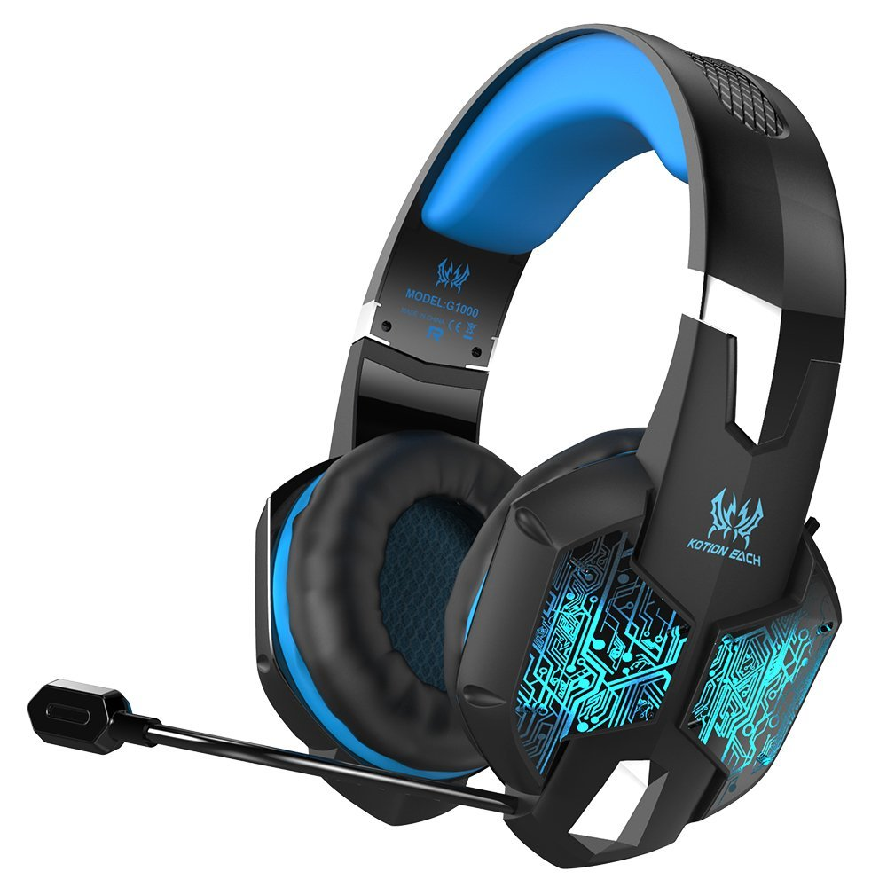 VersionTech Professional Stereo Gaming Headset with Microphone for Mac PC Computer(Incompatible with PS4 PS3 Xbox One Xbox 360,Blue)