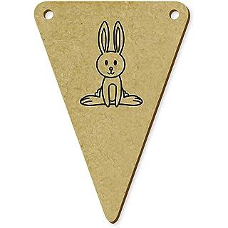 Azeeda 5X 70mm 'Coniglio Felice' Bandiere di Stamina in Legno (BN00040231)