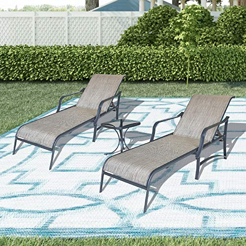 LOKATSE HOME Outdoor Patio Adjustable Metal Chaise Lounge Chair Recliner Set of 2 with 1 Glass Top Bistro Table, Grey