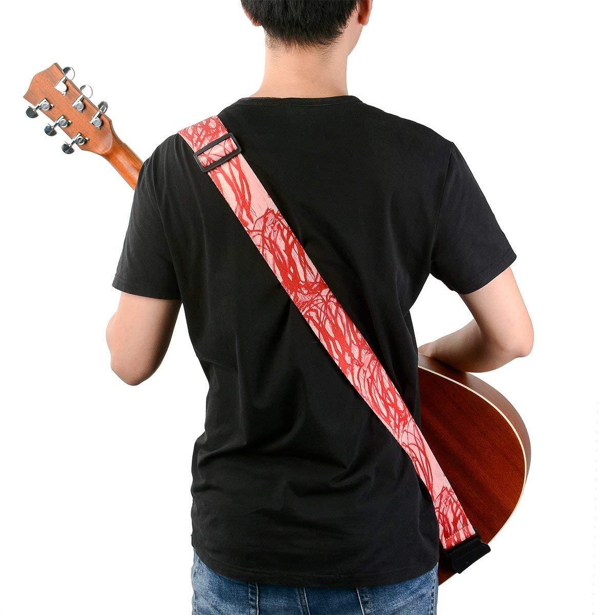 Correa para guitarra con extremos de piel, retor estilo artística patrón al azar líneas incluye 2 guitarra cerraduras y 1 botón cabezal adaptador para ...