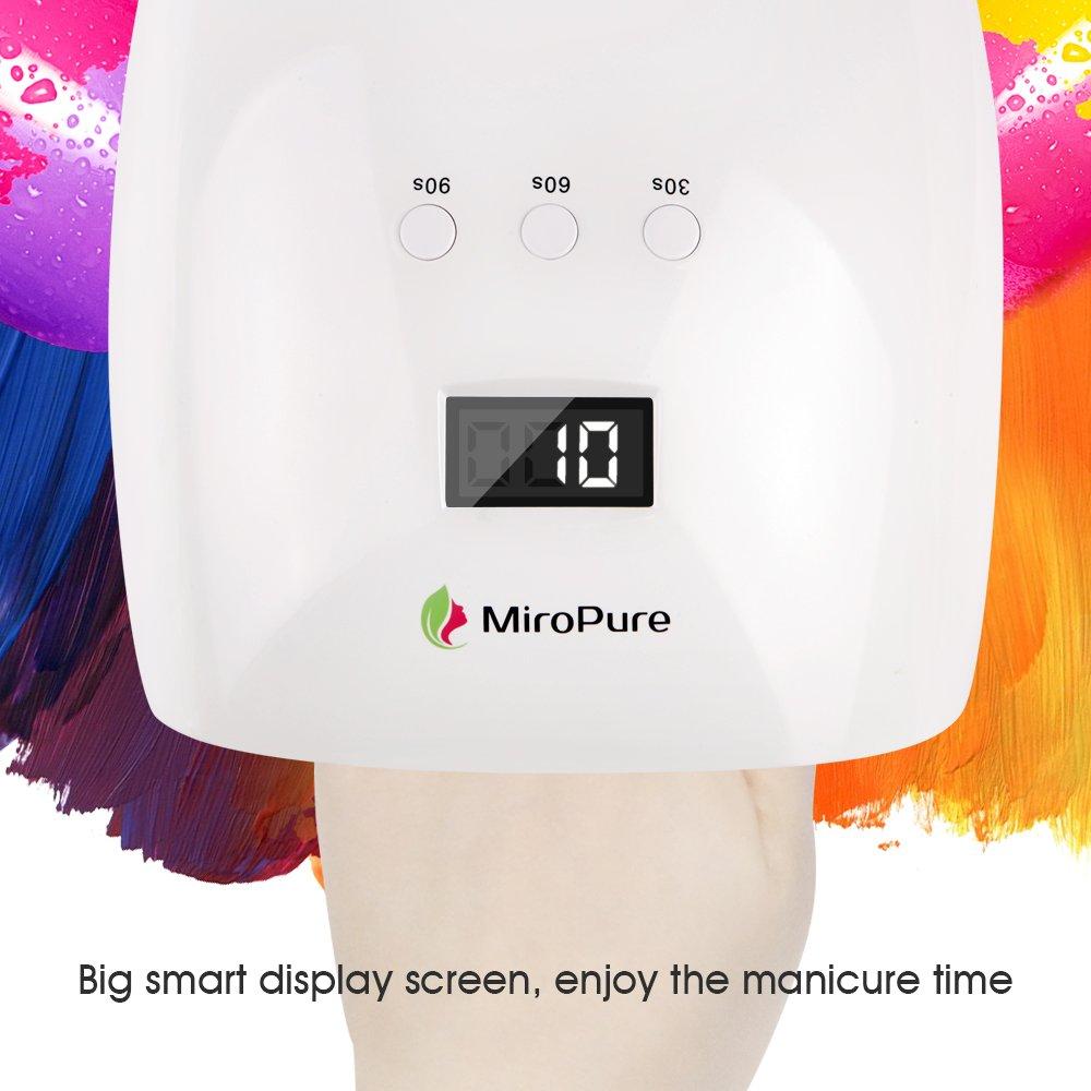 Secador de uñas profesional MiroPure con lámpara LED UV de 48W y pantalla LCD. Herramienta ideal para salón de manicura con sensor infrarrojo, seca esmalte ...