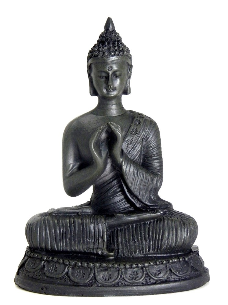 Bellaa 22289 Buddha Statue Hakini Mudra Small Tibet Thai Antiques Finished Sculpture