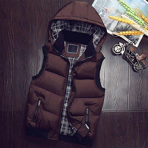 BOZEVON Down Sleeveless Outwear Brown Vest Zipper Waterproof Men's Winter Down Windproof Coat Hoodie Hooded Jacket rAnTrHwqx