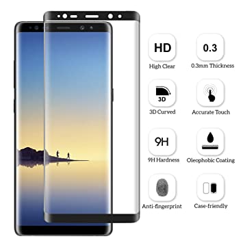 Verre Trempé Note 8, Nakeey Samsung Galaxy Note 8 Protection d écran  Couverture Complète Film Protection D écran en Verre Trempé écran  Protecteur Vitre Pour ... e71263816dbf
