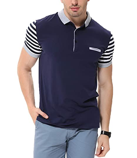 f2472f981 fanideaz Men s Cotton Navy Blue Striped Polo T Shirt with Collar and ...